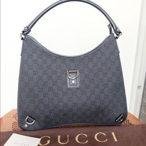 Authentic Gucci Abbey D-Link Hobo Black